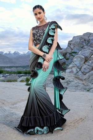 Sky Blue & Black Fancy Fabric Saree with Blouse