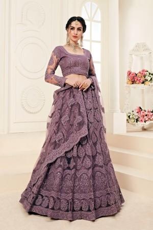 Purple Net Lehenga Choli