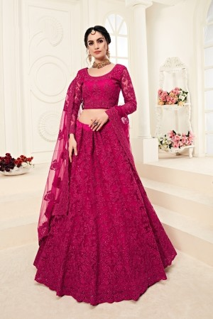 Rani Pink Net Lehenga Choli