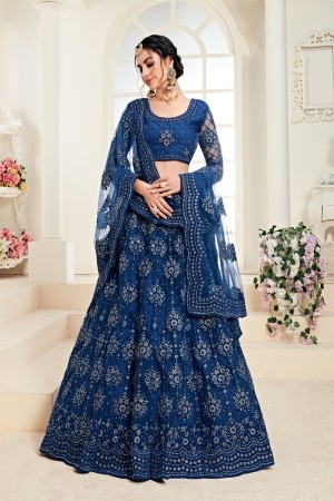 Light Blue Net Lehenga Choli