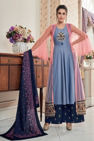 Light Blue Muslin Salwar Kameez