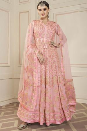 Peach Faux Georgette Salwar Kameez