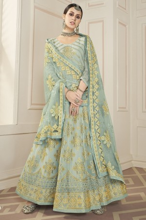 Light Mehendi Faux Georgette Salwar Kameez