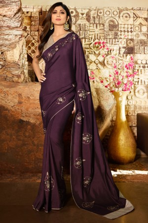 Purple Fancy  Saree with Blouse