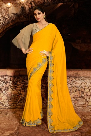 Yellow Fancy  Saree with Blouse