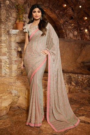 Light Grey Fancy  Saree with Blouse