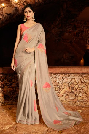Light Brown Fancy  Saree with Blouse