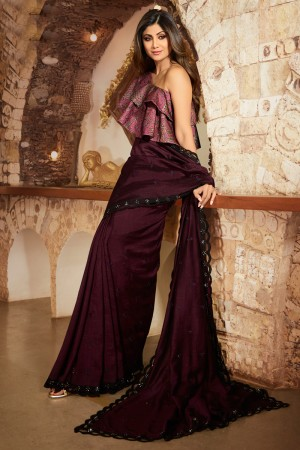Wine Fancy  Saree with Blouse
