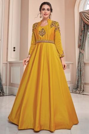 Yellow Soft Taffeta Silk Gown