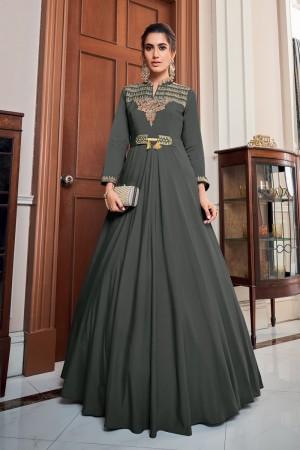 Dark Grey Soft Taffeta Silk Gown
