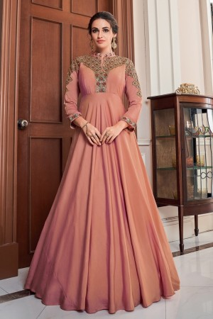 Peach Soft Taffeta Silk Gown