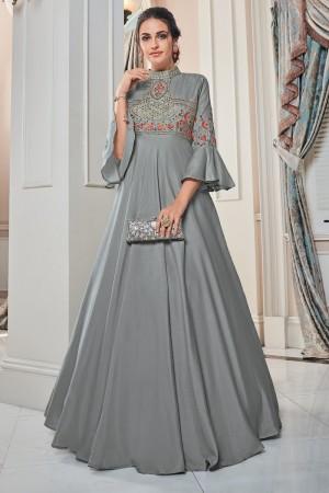 Silver Soft Taffeta Silk Gown