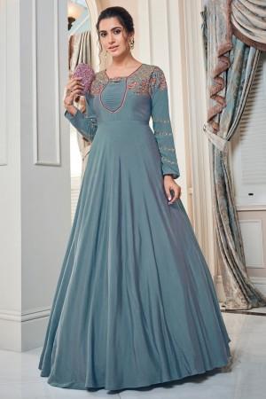 Light Blue Soft Taffeta Silk Gown