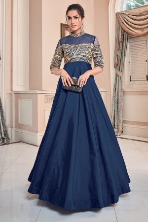 Blue Soft Taffeta Silk Gown
