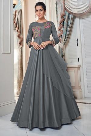 Grey Soft Taffeta Silk Gown