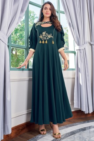 Dark Teal Heavy Rayon Gown