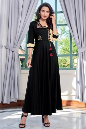 Black Heavy Rayon Gown