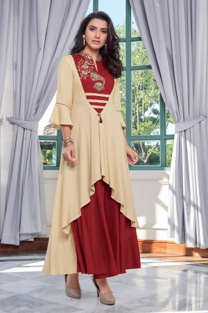 Cream & Maroon Heavy Rayon Gown
