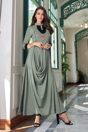 Light Mehendi Heavy Rayon Gown