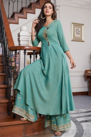 Sky Blue Two Tone Slub Cotton Salwar Kameez