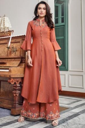 Orange Two Tone Slub Cotton Salwar Kameez