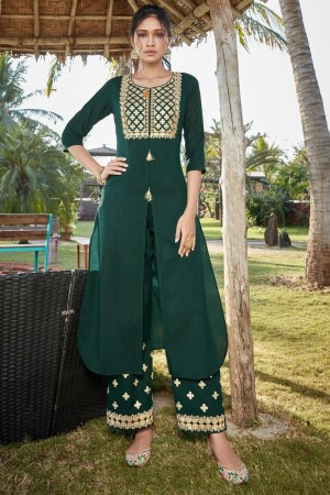 Green Cotton Silk Salwar Kameez