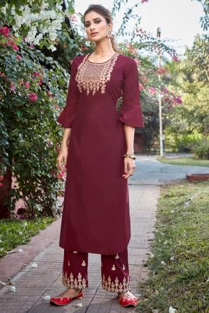 Maroon Cotton Silk Salwar Kameez