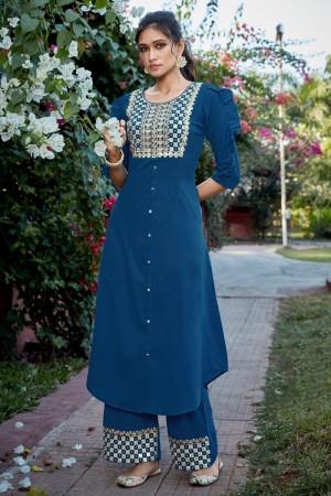Blue Cotton Silk Salwar Kameez