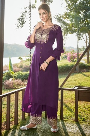 Purple Cotton Silk Salwar Kameez