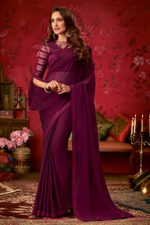 Wine Two Tone Georgette Saree with Blouse