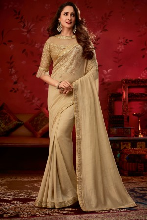 Cream Bluecherry Silk Saree with Blouse