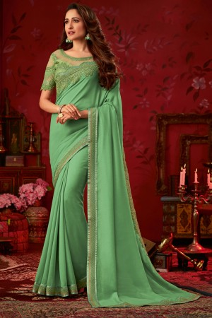 Pista Dola Silk Saree with Blouse