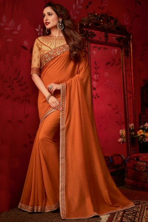Orange Dola Silk Saree with Blouse