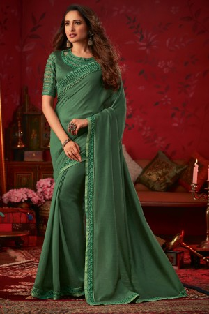 Light Green Dola Silk Saree with Blouse