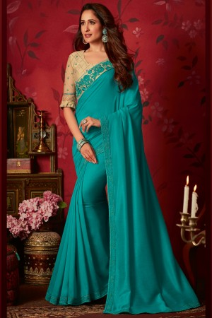 Sky Blue Dola Silk Saree with Blouse