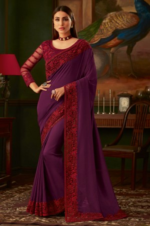 Wine Silk Saree with Blouse