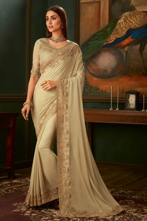 Cream Georgette Shimmer Saree with Blouse