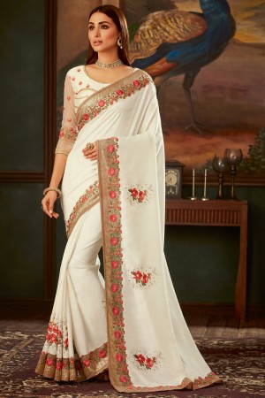 White Silk Saree with Blouse