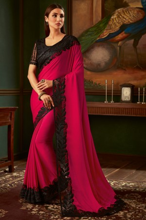 Coral Two tone Georgette Saree with Blouse