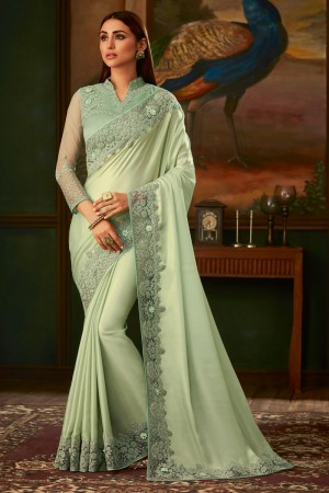 Pista Shimmer Silk Saree with Blouse