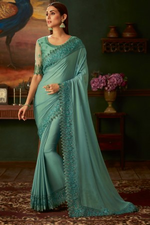 Light Teal Georgette Shimmer Saree with Blouse