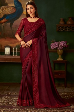 Maroon Two Tone Silk Saree with Blouse