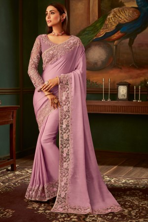 Baby Pink Georgette Satin Saree with Blouse