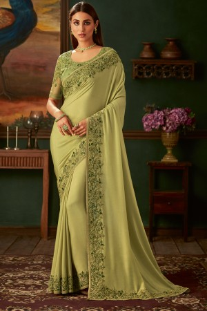 Pista Shimmer Georgette Saree with Blouse