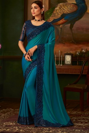 Ocean Two Tone Silk Saree with Blouse
