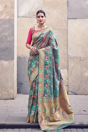 Sapphire Banarasi Silk Saree with Blouse