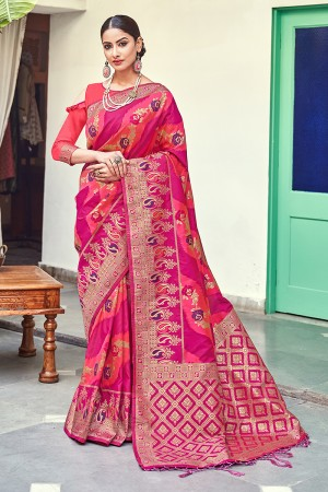 RaniPink & Wine Banarasi Silk Saree with Blouse