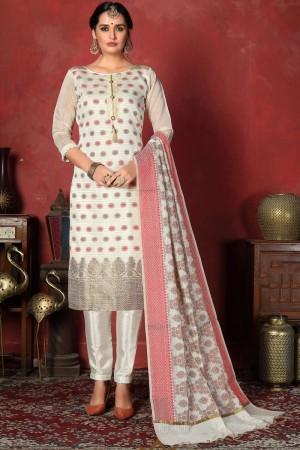 White Banarasi Silk Salwar Kameez