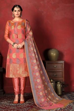 Orange Banarasi Silk Salwar Kameez
