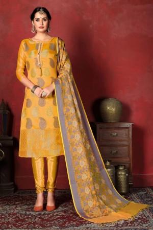 Yellow Banarasi Silk Salwar Kameez